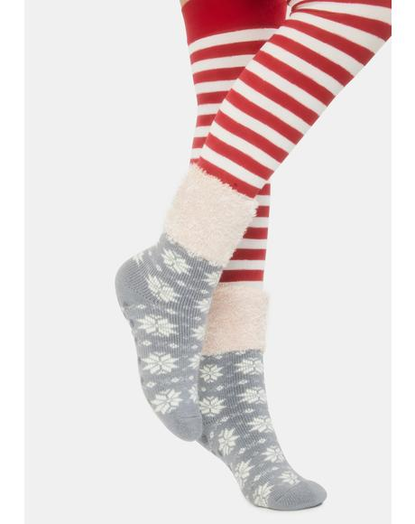 Alloy Snowflake Fairy Plush Socks