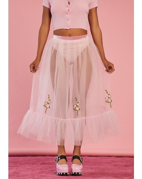 Pure As Sugar Tulle Midi Skirt