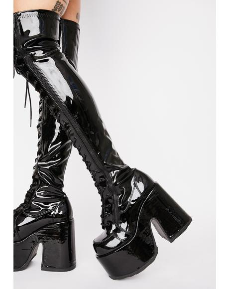 Patent Rave Royalty Thigh High Boots