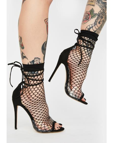 Midnight Sunrise Fishnet Heels