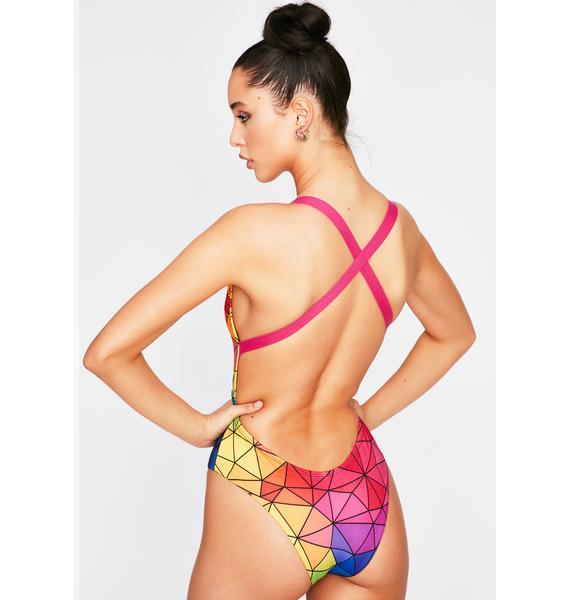 Towers Swimwear Asymmetric Colors One Piece Swimsuit