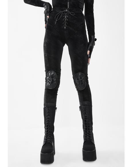 Black Skinny Pants With Leg Utility Harness