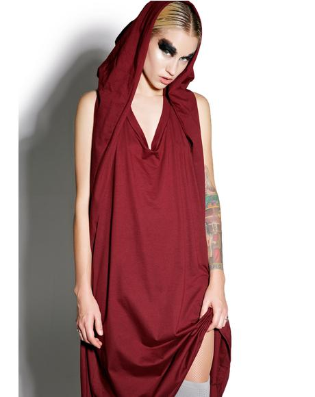 Cryptic Crimson Hooded Maxi Dress
