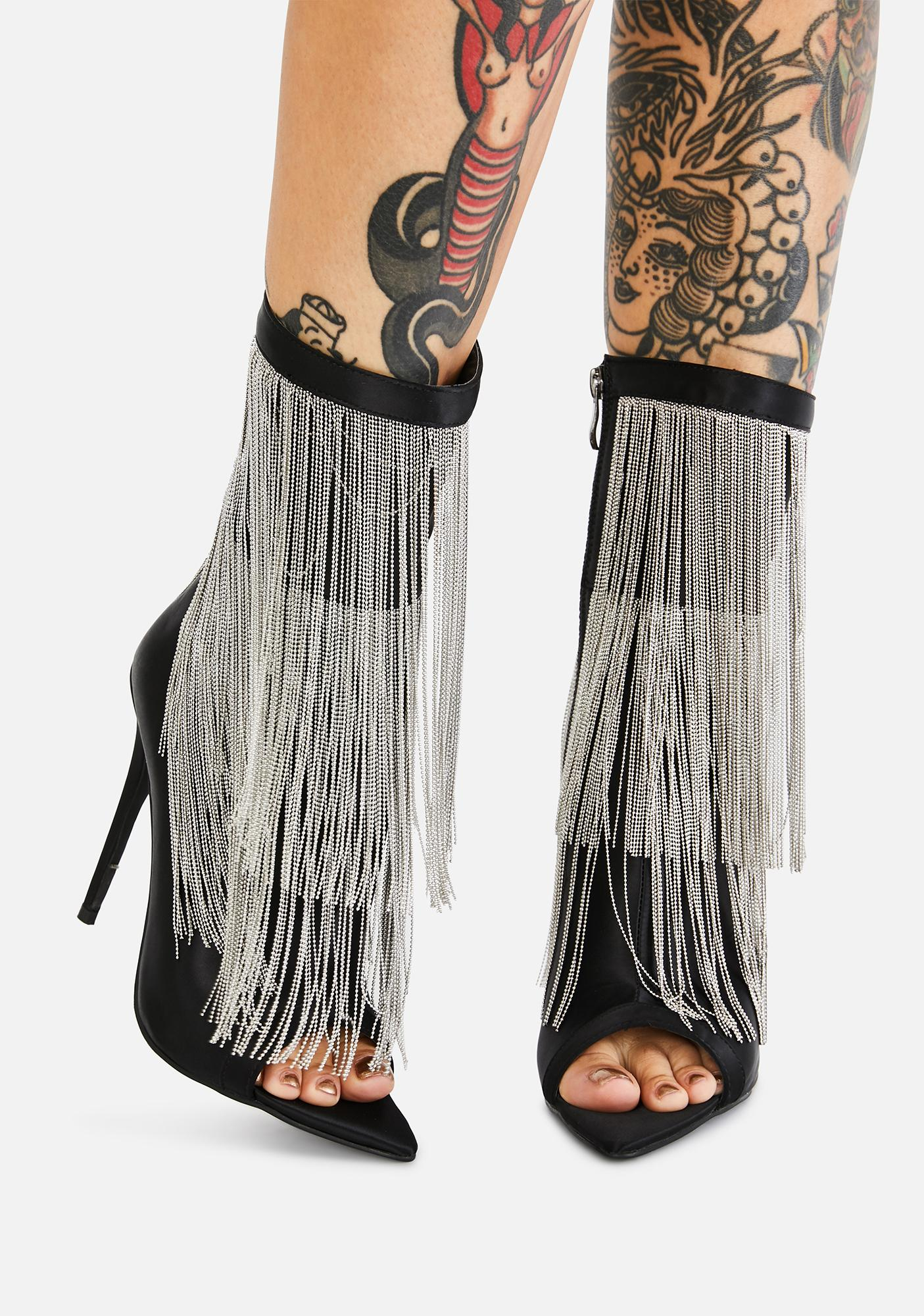 AZALEA WANG Yas Fringe Heeled Booties