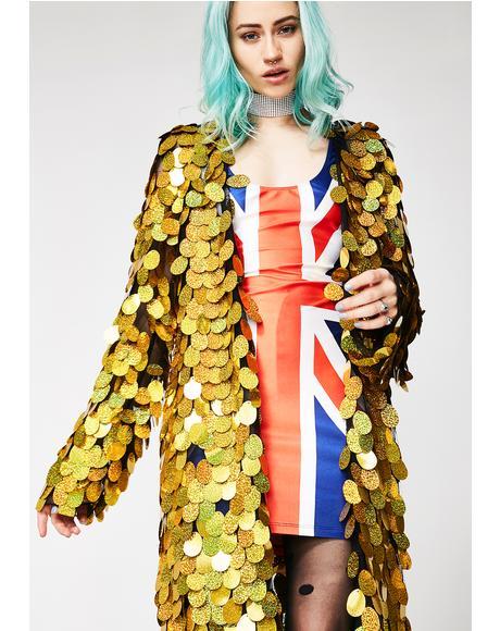 Gold Hologram Sequin Kimono