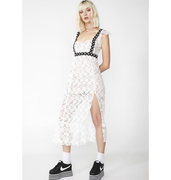 For Love & Lemons Isabel Embroidered Midi Dress