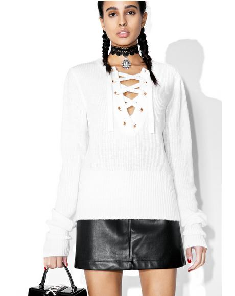 Snow Feelin� Yew Lace Up Sweater