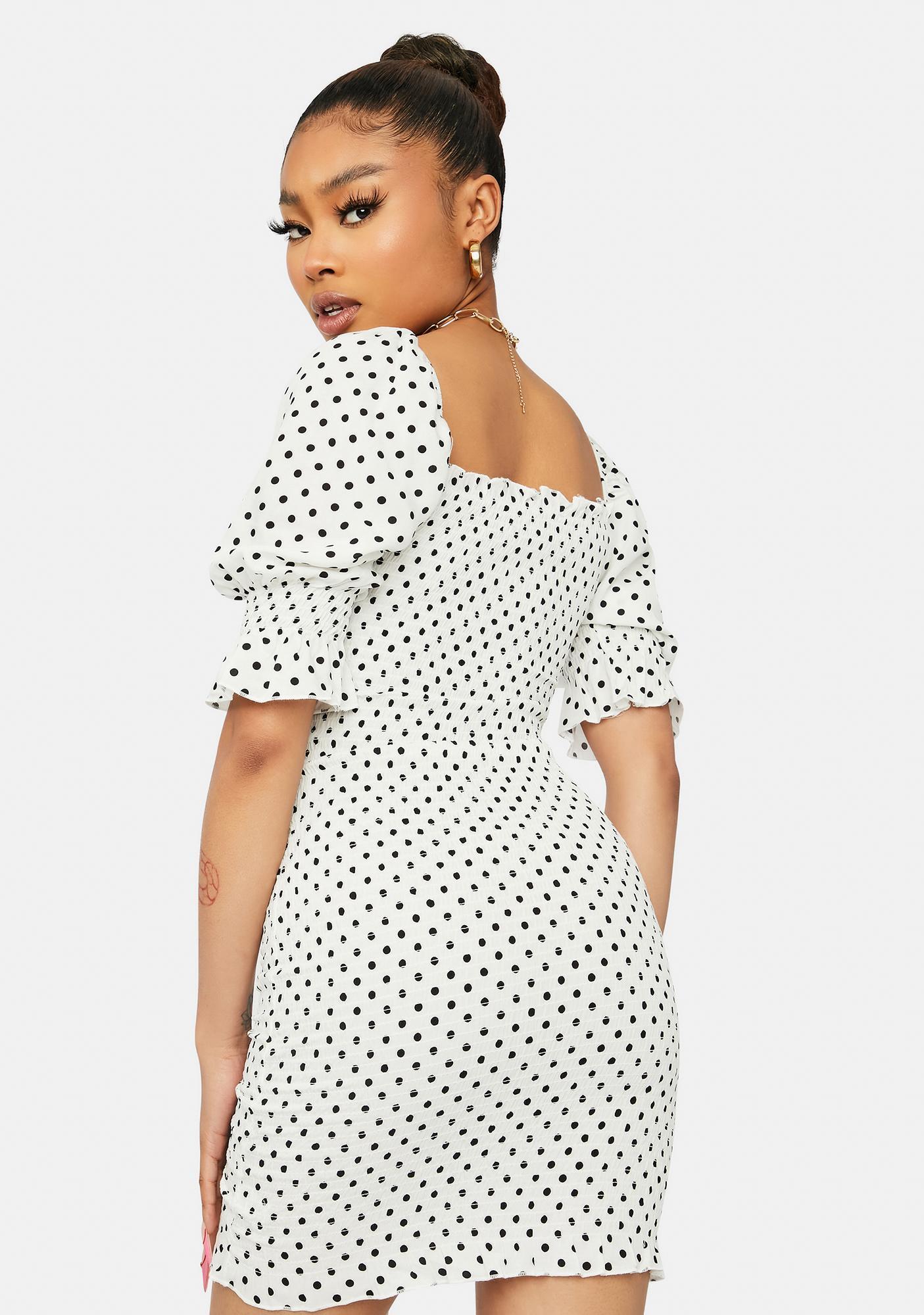 Ivory Sweet As Ever Polka Dot Puff Sleeve Dress