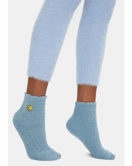 Sky Smiles Fuzzy Crew Socks
