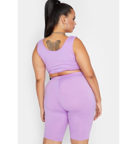 Lilac She's Runnin' Shizz Shorts Set