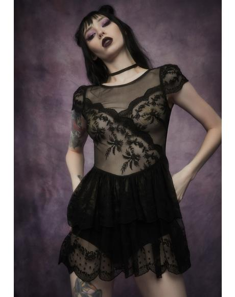 Midnight Twisted Tea Party Lace Dress