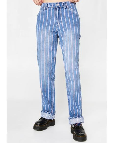 Peppermint Stripe Carpenter Jeans