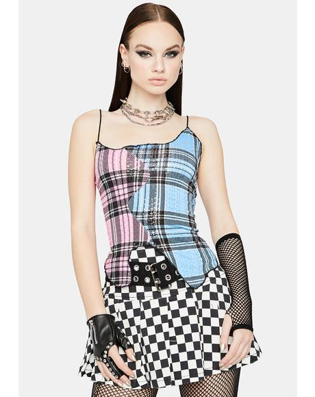 Punk Pretty Two-Tone Sequin Plaid Top