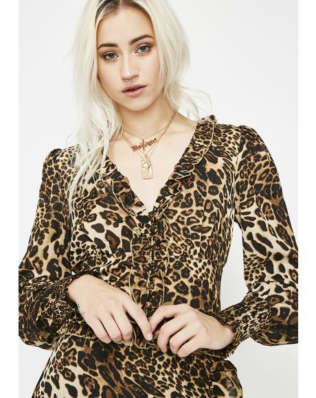 Foxy Feline Leopard Blouse