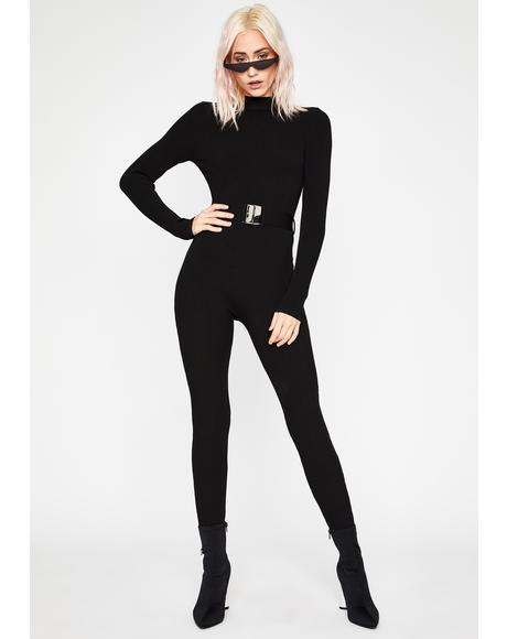 Secret Agent Chic Belted Jumpsuit