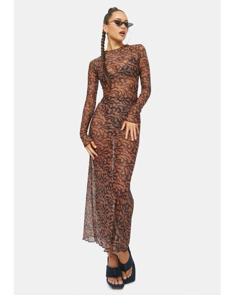 Tattoo Penelope Net Mesh Maxi Dress