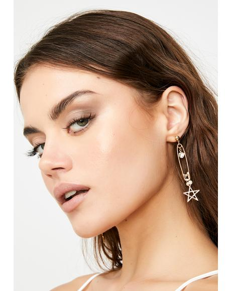 Astro Edge Safety Pin Earrings