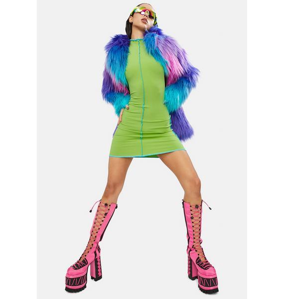 God Of Mod Lettuce Trim Mini Dress