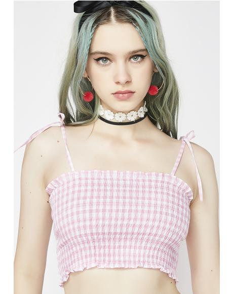 Rosé Girl Nxt Door Smocked Crop Top