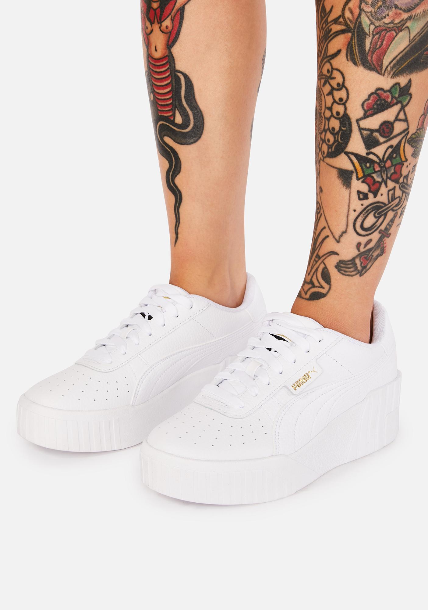 PUMA White Cali Wedge Platform Sneakers