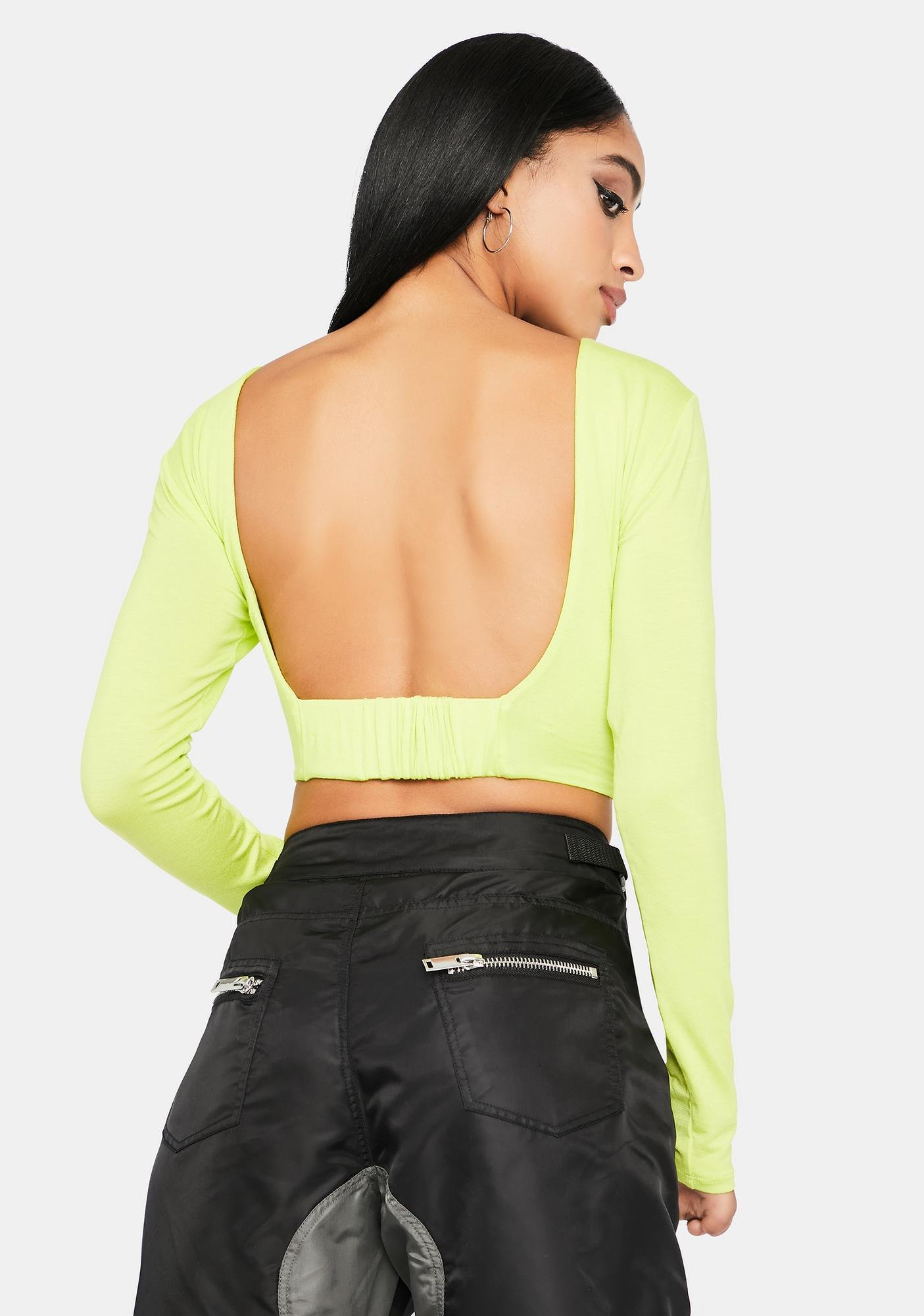 Toxic Hard To Get Open Back Crop Top