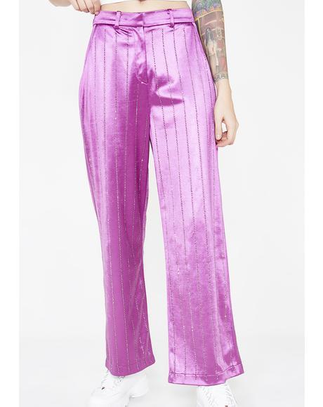 Rhinestone Pinstripe Suit Trousers