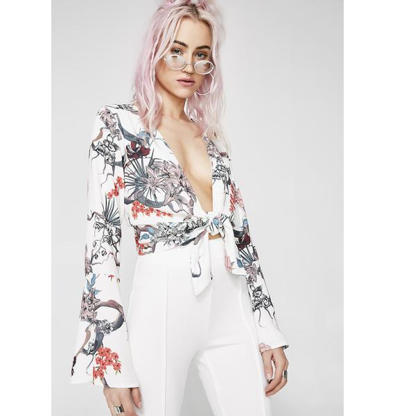 Cherry Blossom Tie Front Top