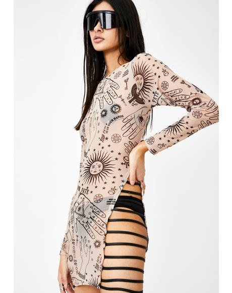 Hands Print Mesh Mini Dress