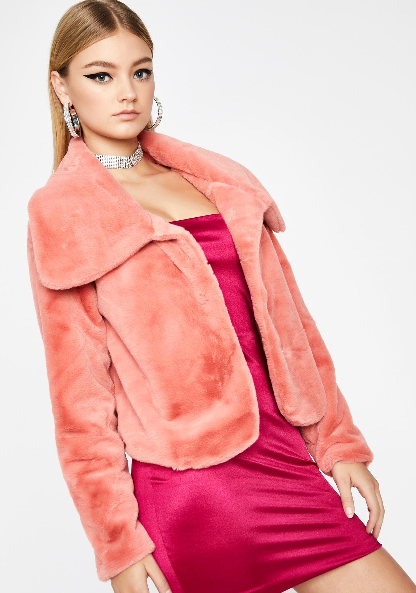 Grapefruit Cutie Moment Faux Fur Jacket