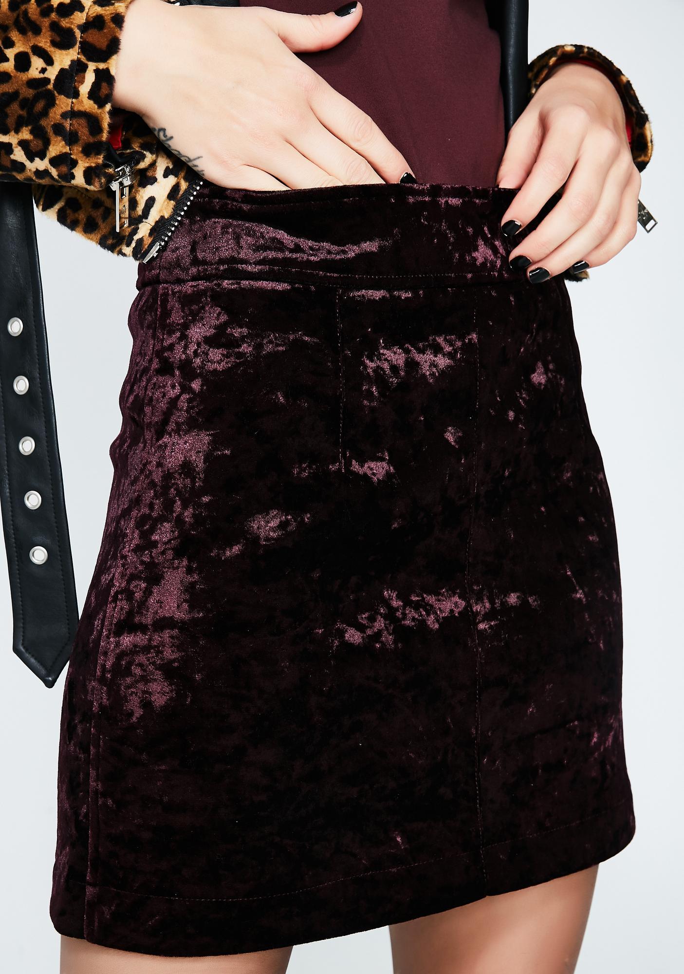 23047f6643 Amethyst No Lies Velvet Mini Skirt