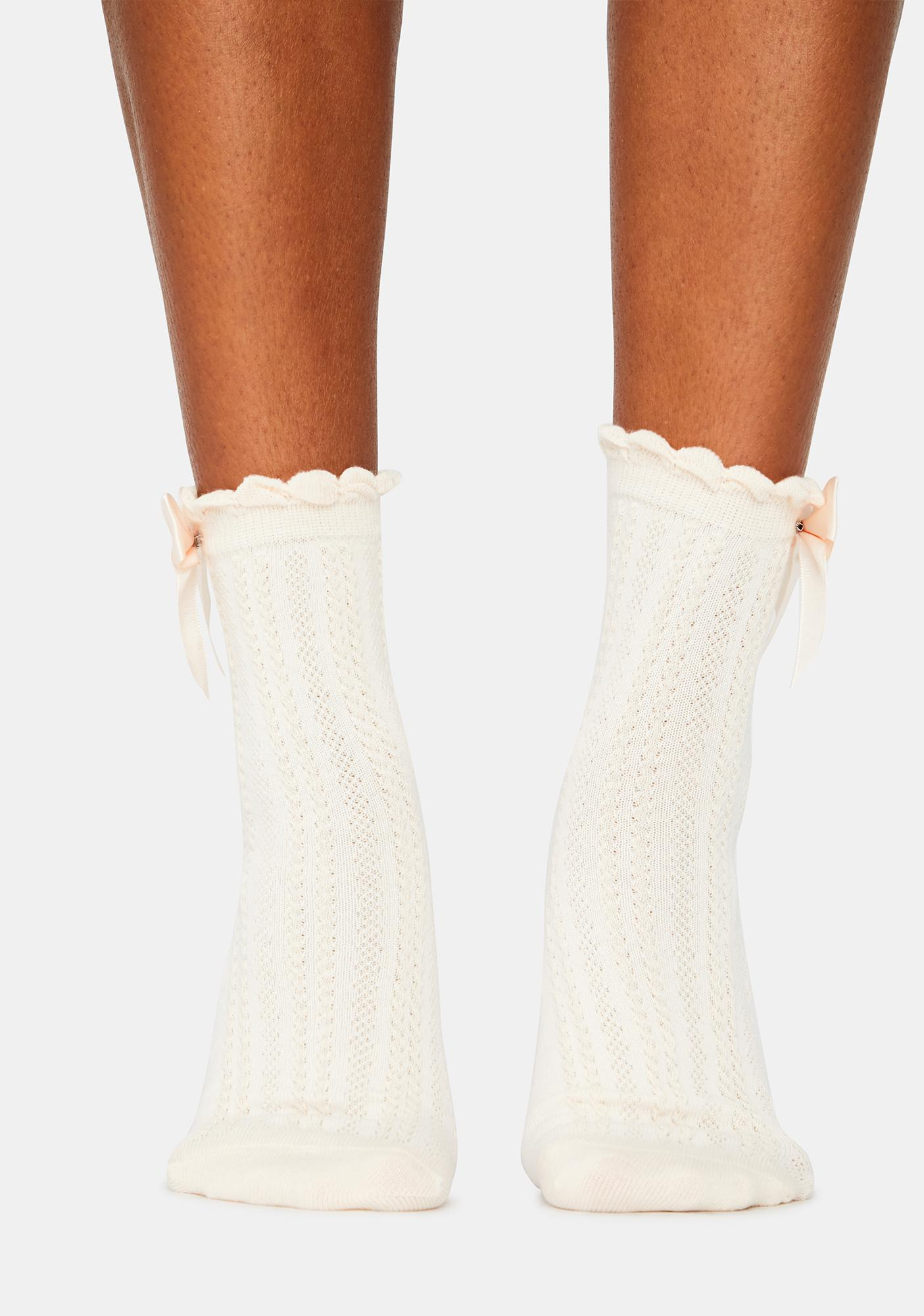Bow On Top Ribbed Crew Socks