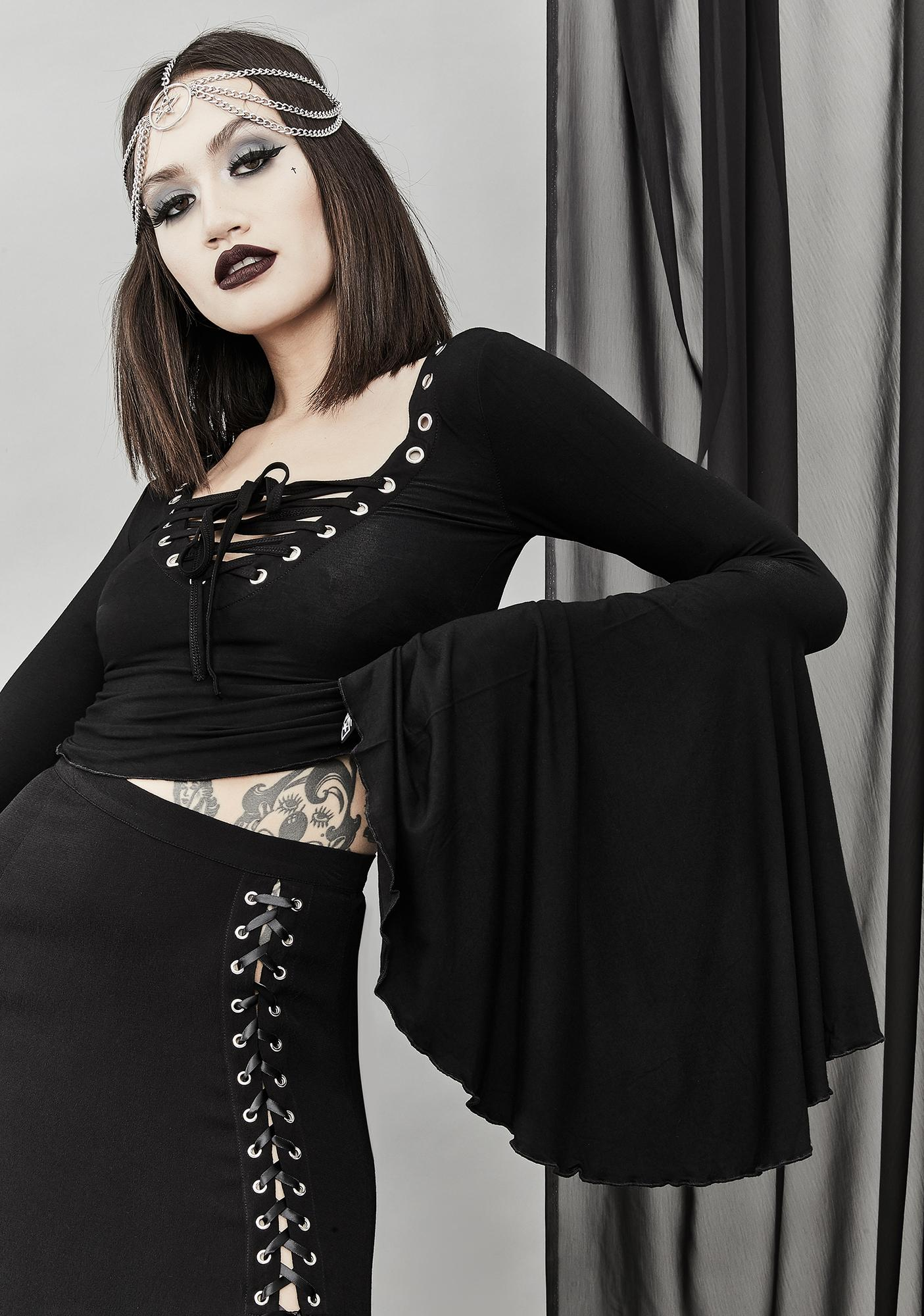 Widow Happy Haunting Lace Up Top