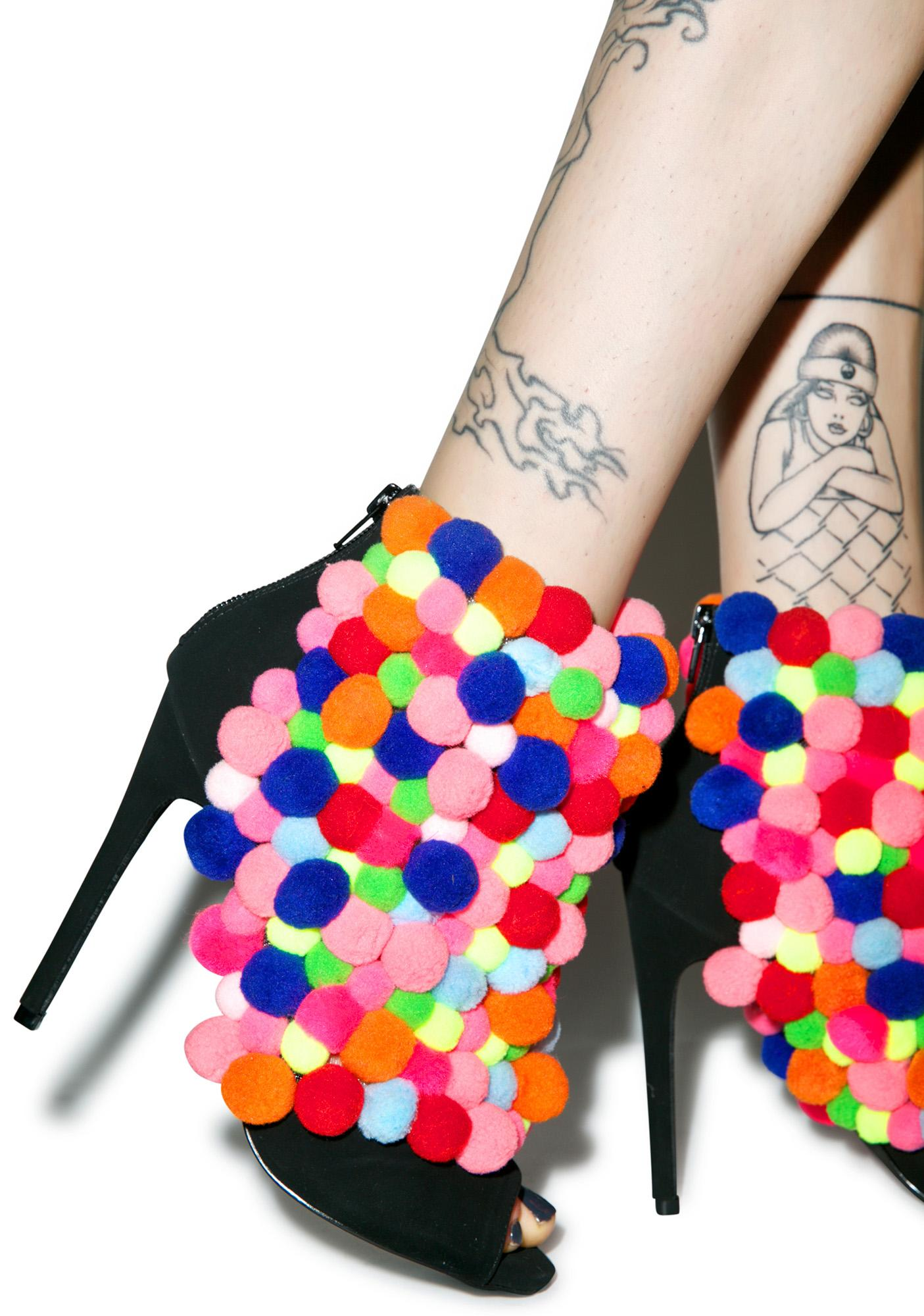 Privileged Rainbow Pom-Pom Ankle Booties