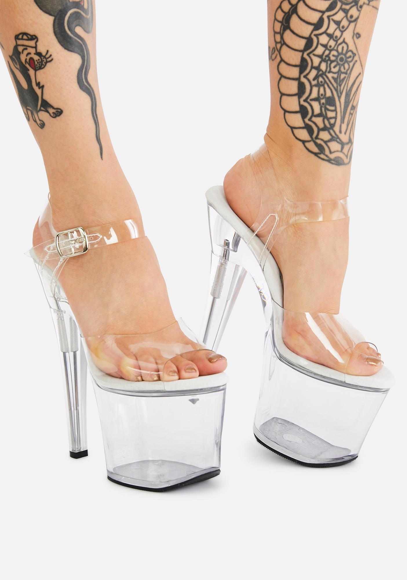 Pleaser Treasure Fillable Clear Heels