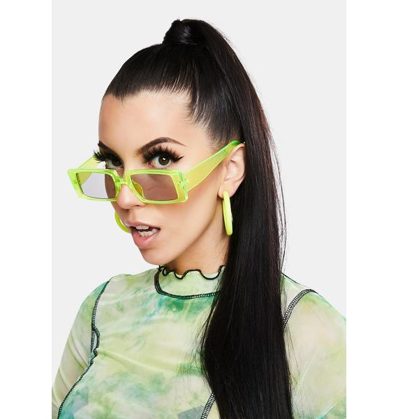 Lemon Straight To Business Rectangle Sunglasses