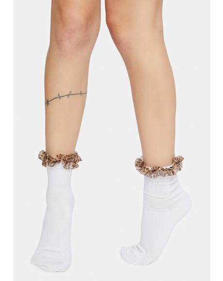 Fierce Soul Leopard Print Ruffle Socks