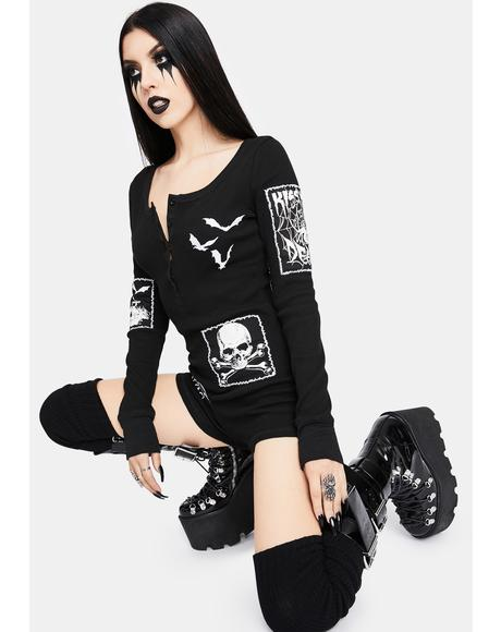 Patched Up Halloween Thermal Romper
