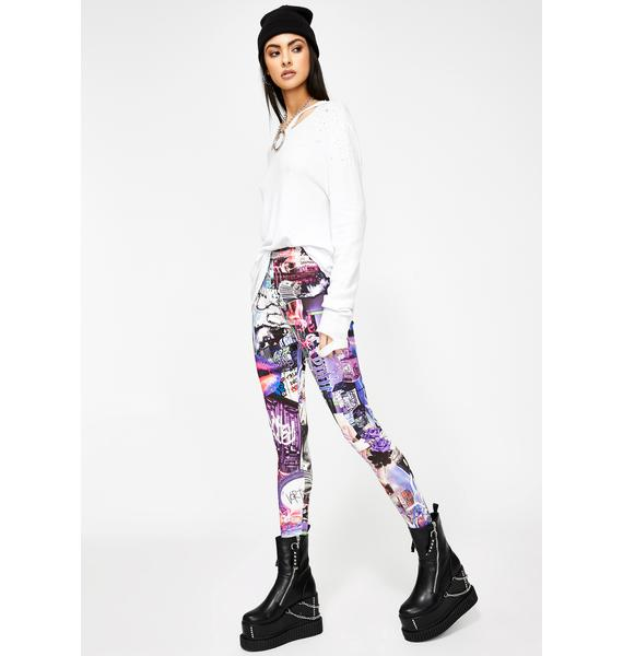 Jaded London Lips Collage Print Leggings