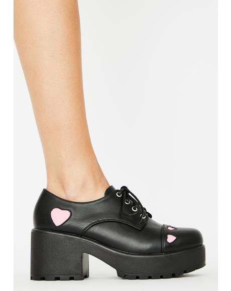 Pink Heart Tennin Platform Oxfords