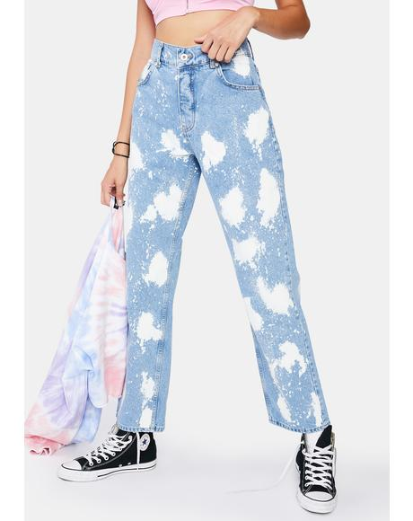 Acid Wash Straight Leg Denim Jeans