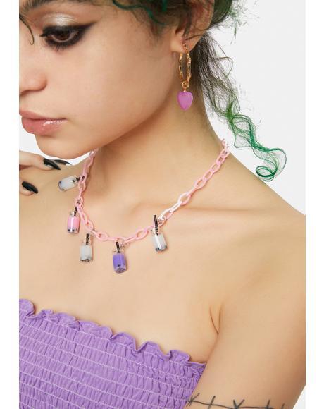 Bubblegum Just A Sip Boba Charm Necklace
