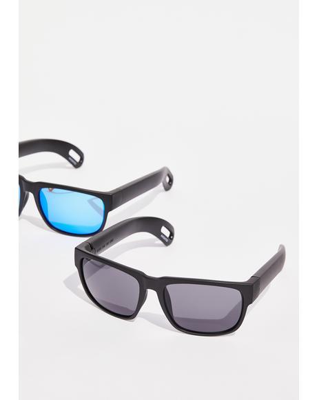 Black Hidden Storage Classic Lens Sunglasses