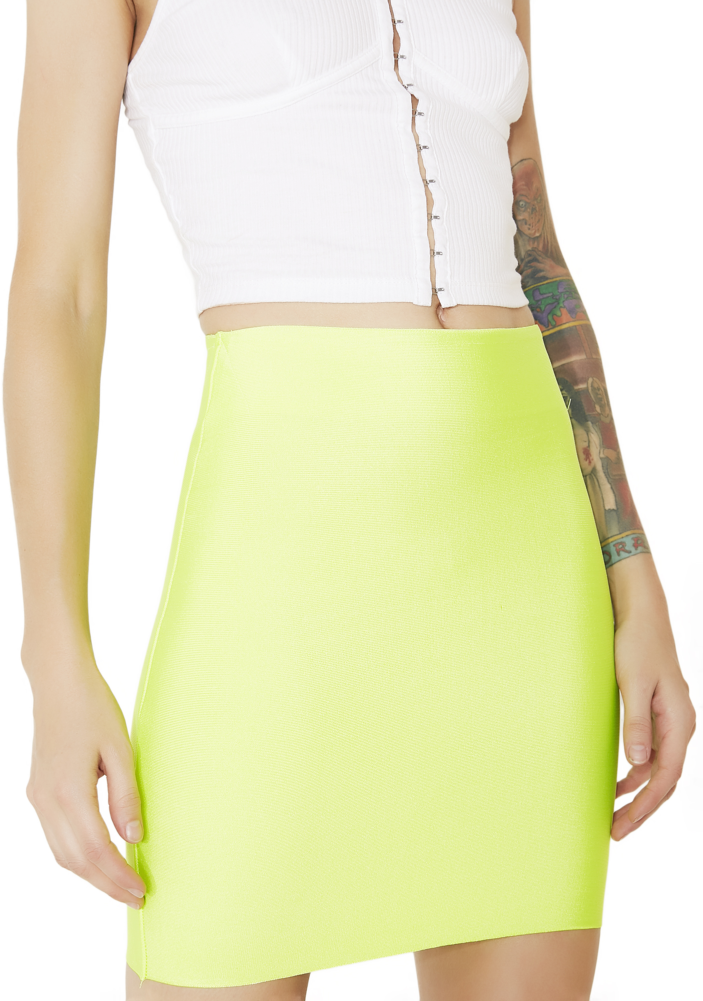 Bodycon Mini Neon Green Skirt