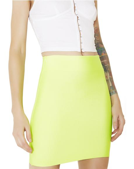 Lime Neon Lights Bodycon Skirt