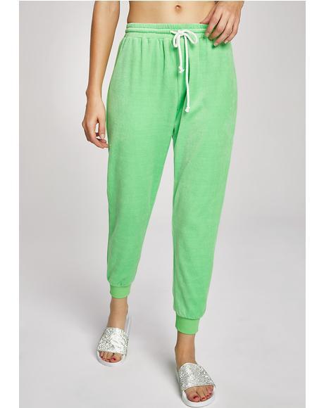 Lime Malibu Princess Velour Lounge Pant