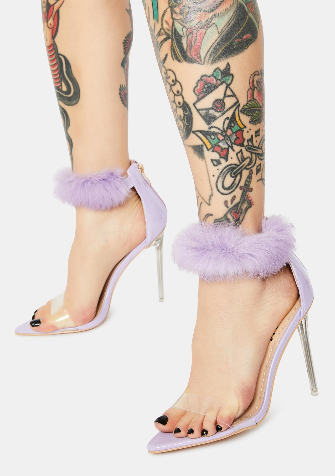 Lilac Classy Act Faux Fur Heels