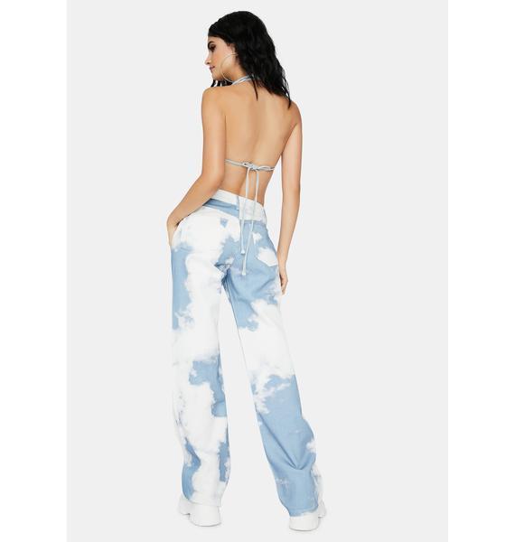 Jaded London Cloud Print Boyfriend Fit Jeans