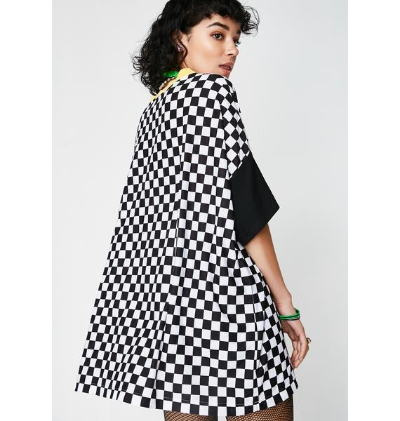 LOVE TOO TRUE Dope Oversized Checkered Tshirt