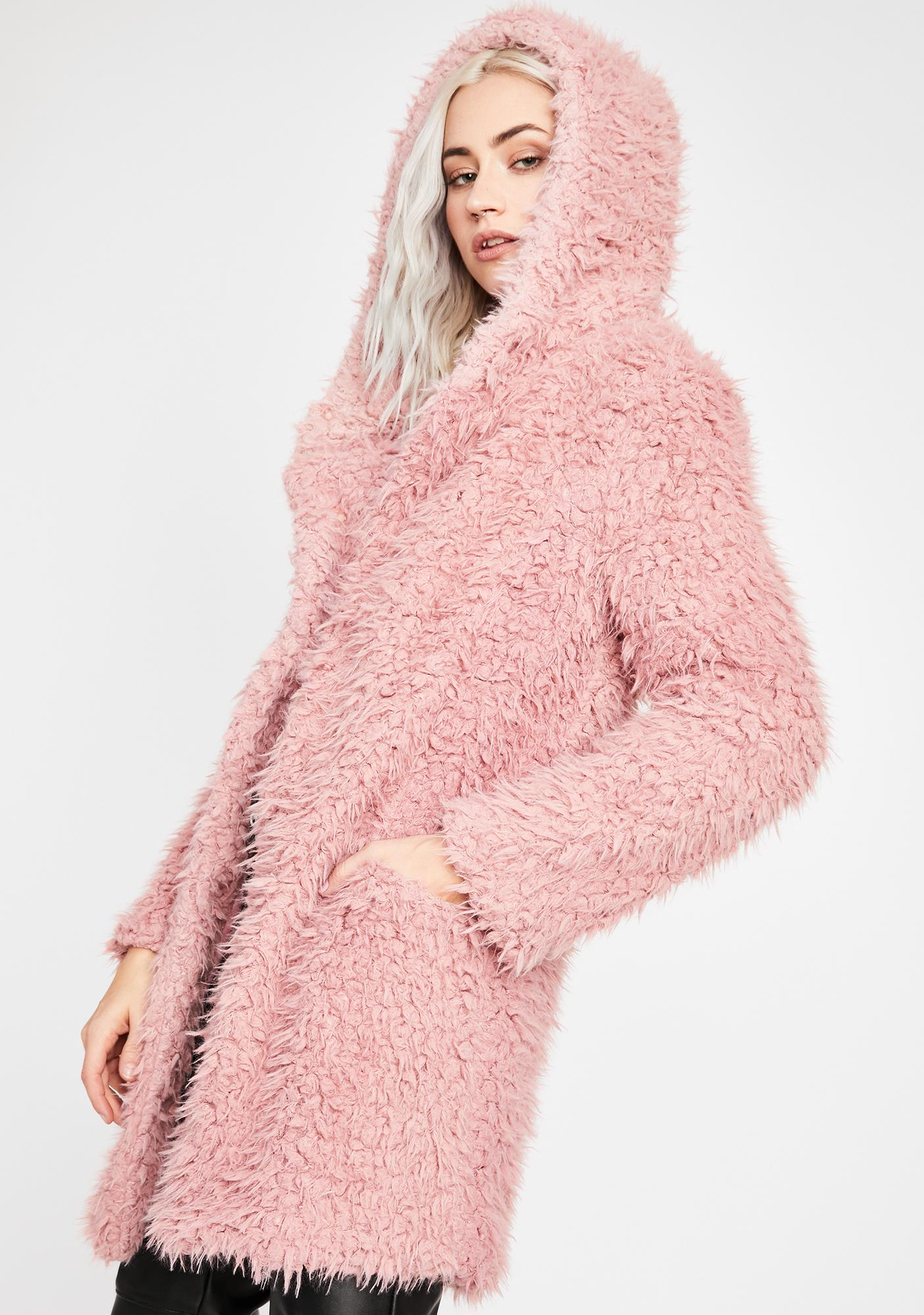 Dusty Rose Fuzzy Coat