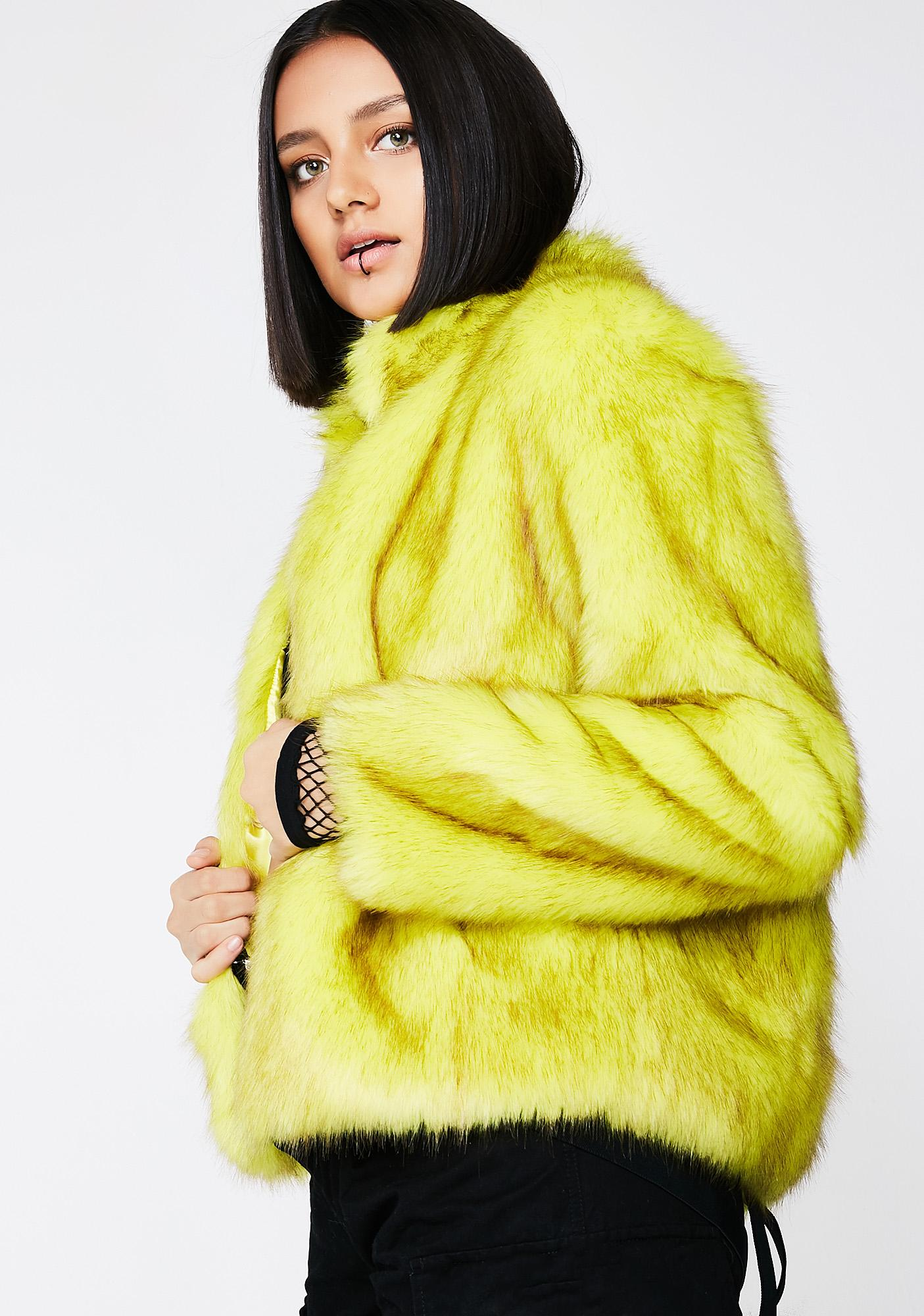 Neon Blonde Oxana Faux Fur Jacket